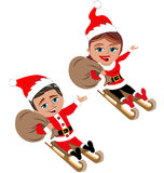Santa Claus Riding on Wooden Sleg or Sleigh. Illustration featuring Bob and Meg in Santa Claus clothing costume riding on wooden sleg or sleigh and holding toys Stock Photo