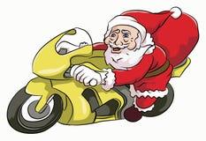 Santa Claus ridningmotocycle Fotografering för Bildbyråer