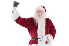 Santa Claus ringer hans klocka Arkivbilder