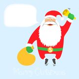 Santa Claus ringing a bell, jumping with gifts. Me Royalty Free Stock Photography
