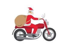 Santa Claus ritt en klassiska Motobike Royaltyfri Fotografi