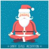 Santa Claus robi joga medytaci Wektorowa Bożenarodzeniowa ilustracja royalty ilustracja