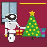 Santa Claus Robot decorating Christmas tree at home. Stock Images