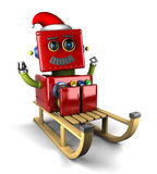 Santa Claus robot on sled. Happy Santa Claus robot on wooden sled over white background Stock Photography