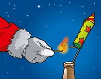 Santa Claus with rocket. Santa Claus inflamed a firework rocket Royalty Free Stock Photography