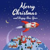 Santa Claus on a rocket flies in space around the Earth little rural town, Merry Christmas and Happy New Year. Winter. Santa Claus on a rocket flies in space royalty free illustration