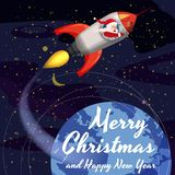 Santa Claus on a rocket flies in space around the Earth, Merry Christmas and Happy New Year. Winter, stars, vector. Santa Claus on a rocket flies in space around royalty free illustration