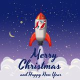 Santa Claus on a rocket flies in space, Merry Christmas and Happy New Year. Winter, stars, vector, illustration. Santa Claus on a rocket flies in space, Merry vector illustration