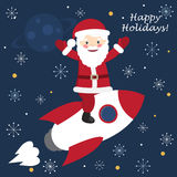 Santa Claus on the rocket ship flying through space. Vector illustration of Santa Claus on the rocket ship flying through space. Postcard stock illustration