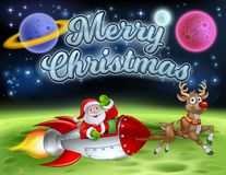 Santa Claus Rocket Sleigh Merry Christmas Cartoon. Santa Claus in a rocket sleigh pulled by reindeer cartoon with Merry Christmas message and alien planet stock illustration