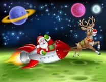 Santa Claus Rocket Sleigh Space Christmas Cartoon stock illustration