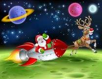Santa Claus Rocket Sleigh Space Christmas Cartoon stock illustrationer