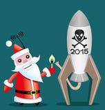 Santa Claus and rocket. Royalty Free Stock Photos