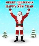Santa Claus in rode Vrolijke Kerstmis van kostuumwensen en een Gelukkig Nieuwjaar stock illustratie