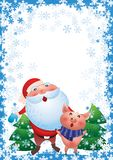 Santa Claus roligt tecknad filmtecken Piggy symbol för nytt år stock illustrationer