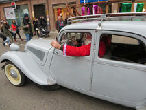 Santa claus in a Rolls Royce. In Strasbourg.December 2014 stock photography