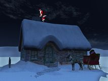 Santa Claus on the roof. Santa Claus on a roof, ready to go down the chimney a starry night. His reindeer and sleigh waiting on the ground in front of the snow Royalty Free Stock Photo