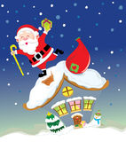 Santa Claus on the roof. Santa Claus feels happy on the chimney of house Stock Images
