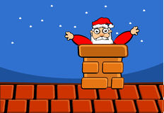 Santa claus on roof. Of house Royalty Free Stock Photography