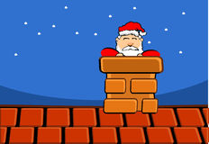 Santa claus on roof. Of house Stock Photo