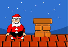 Santa claus on roof. Of house Stock Image