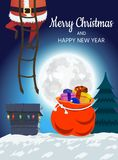 Santa Claus on the roof descends into the chimney. Christmas design of a winter holiday poster, postcards, for banners, posters, b. Rochures, leaflets,Place for royalty free illustration