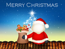 Santa claus on roof Stock Photography