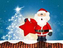 Santa Claus on roof. Illustration of Santa Claus on roof Stock Photo