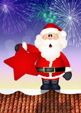 Santa Claus on roof. Illustration of Santa Claus on roof Royalty Free Stock Images