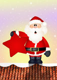 Santa Claus on roof. Illustration of Santa Claus on roof Royalty Free Stock Photos