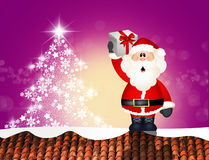 Santa Claus on roof. Illustration of Santa Claus on roof Royalty Free Stock Photography