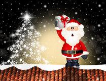 Santa Claus on roof. Illustration of Santa Claus on roof Royalty Free Stock Photo