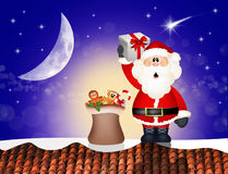 Santa Claus on roof. Illustration of Santa Claus with gifts on roof Stock Photography