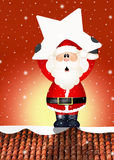 Santa Claus on roof. Illustration of Santa Claus with star on roof Royalty Free Stock Image