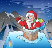 Santa Claus on roof in mountain. Eps10 vector illustration Stock Photography