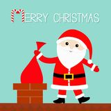 Santa Claus on the roof putting gift bag into chimney. Red hat, costume  Royalty Free Stock Images