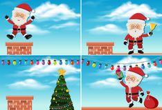 Santa Claus on the roof. Illustration Stock Image