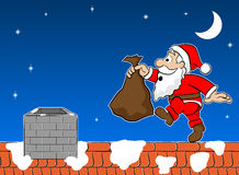 cartoon illustration of Santa Claus on a rooftop next to a chimney.