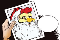 Santa Claus in a rooster mask. Symbol of year. Horoscope Royalty Free Stock Images