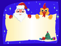 Santa Claus and a rooster with a newspaper in his hands. New Year is coming. Symbol of the New Year. Rooster symbol of the year 2017 Stock Photography