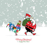 Santa Claus with Rooster, symbol of 2017. Christmas card. Vector illustration Royalty Free Stock Photos