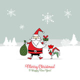 Santa Claus with Rooster, symbol of 2017. Christmas card. Vector illustration Royalty Free Stock Image