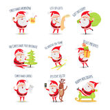 Santa Claus Routine. Collection of Illustrations Royalty Free Stock Images