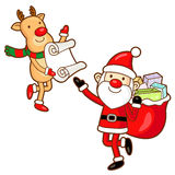 Santa Claus and Rudolph mascot the event activity Stock Photos