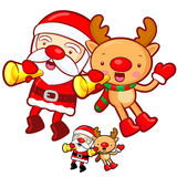 Santa Claus and Rudolph mascot the event activity Royalty Free Stock Photography
