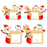 Santa Claus and Rudolph mascot the event activity Stock Photography