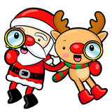 Santa Claus and Rudolph mascot the event activity Stock Images