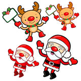 Santa Claus and Rudolph mascot the event activity Royalty Free Stock Image
