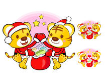 Santa Claus and Rudolph mascot the event activity Royalty Free Stock Images