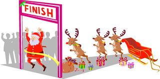 Santa Claus and Rudolph running Stock Image